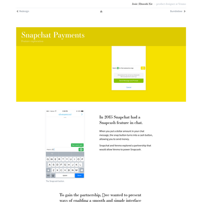 Snapchat Payments - Josie /Zhuoshi Xie, product designer