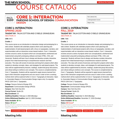 Core 1: Interaction | PACD1110 | Course Catalog | The New School