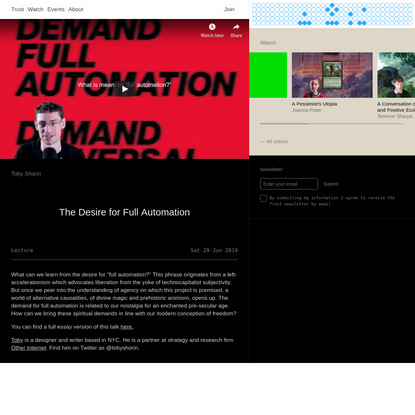 Trust - The Desire for Full Automation