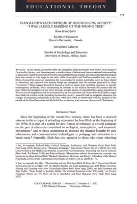 """""""Ivan Illich's Late Critique of Deschooling Society: """"I Was Largely Barking Up the Wrong Tree"""""""" by Rosa Bruno-Jofre and Jon Igelmo Zaldivar [.pdf]"""