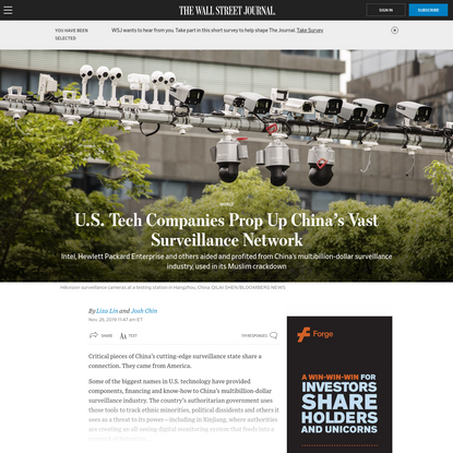 U.S. Tech Companies Prop Up China's Vast Surveillance Network