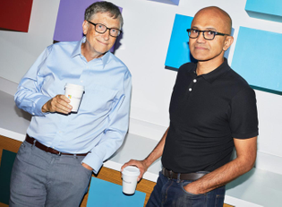 Polo and jeans / dress shirt and slacks - Satya Nadella / Bill Gates