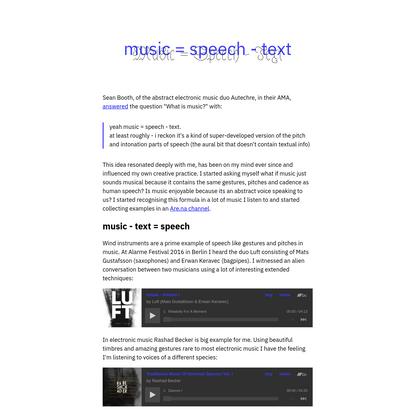 Music = Speech - Text