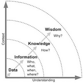 Knowledge Management process including definitions for data, information, knowledge, and wisdom.