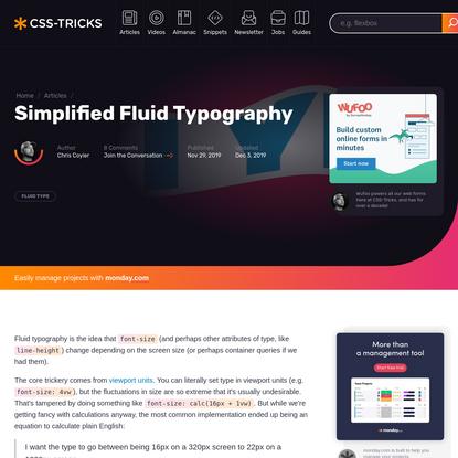 Simplified Fluid Typography | CSS-Tricks