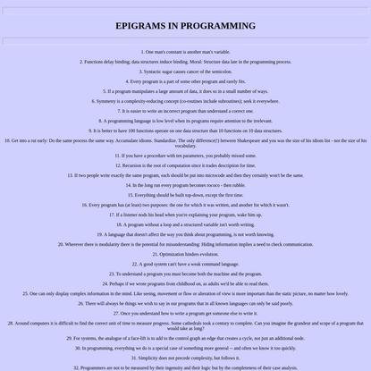 EPIGRAMS IN PROGRAMMING