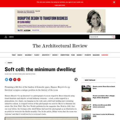 Soft cell: the minimum dwelling   Essay   Architectural Review