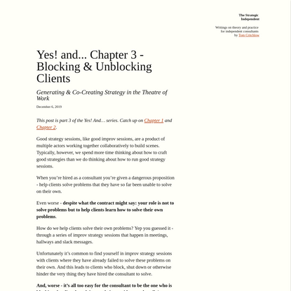 Yes! and... Chapter 3 - Blocking & Unblocking Clients