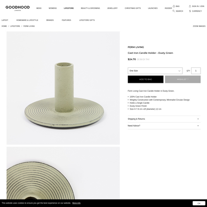 Ferm Living Cast Iron Candle Holder - Dusty Green