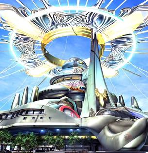Concept art for Balamb Garden in Final Fantasy VIII (1999)