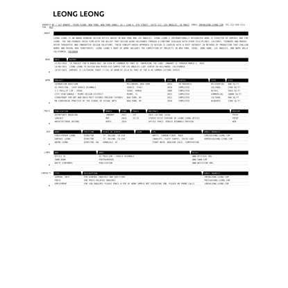 Leong Leong : Index Page