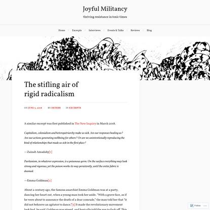 The stifling air of rigid radicalism