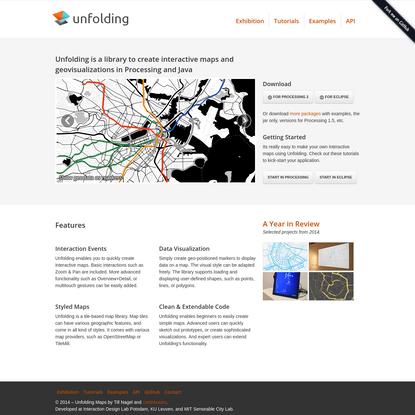 Unfolding Maps: Unfolding is a library to create interactive maps and geovisualizations in Processing and Java