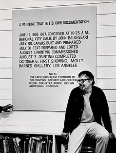 John Baldessari at the opening of his exhibition at the Molly Barnes Gallery in Los Angeles, 1968.