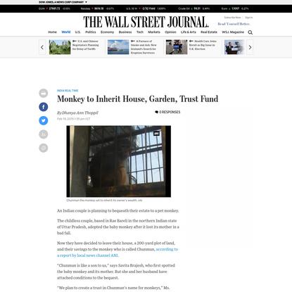 Monkey to Inherit House, Garden, Trust Fund