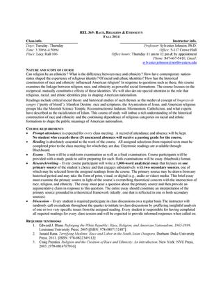 Northwestern University REL369: Race, Religion, & Ethnicity