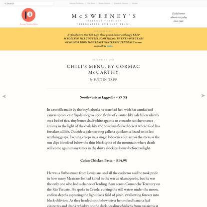 Chili's Menu, by Cormac McCarthy