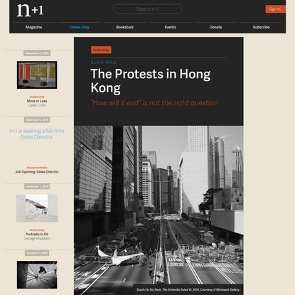 The Protests in Hong Kong