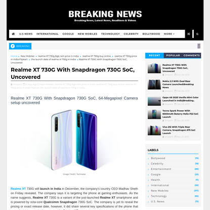 Realme XT 730G With Snapdragon 730G SoC, Uncovered
