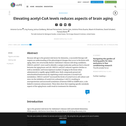 Elevating acetyl-CoA levels reduces aspects of brain aging