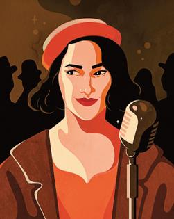 Illustrated Portrait of Rachel Brosnahan, 2018, Petra Eriksson