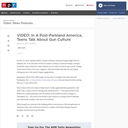 VIDEO: In A Post-Parkland America, Teens Talk About Gun Culture