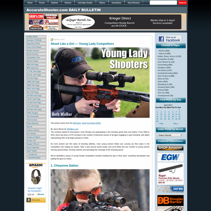 """Shoot Like a Girl - Young Lady Competitors """" Daily Bulletin"""