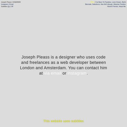 Joseph Pleass | GD&WWW