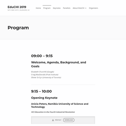Program – EduCHI 2019