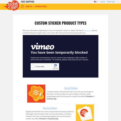 Custom Sticker Product Types
