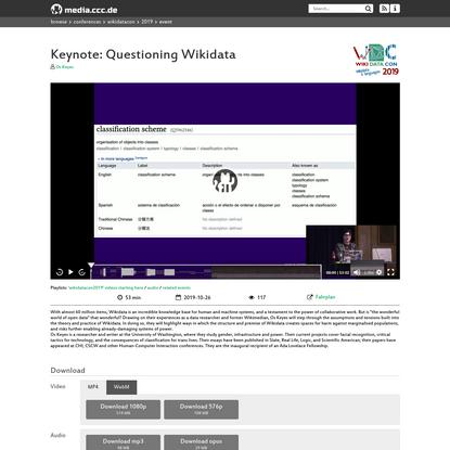 Keynote: Questioning Wikidata