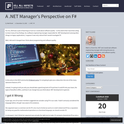 A .NET Manager's Perspective on F# - Kill All Defects