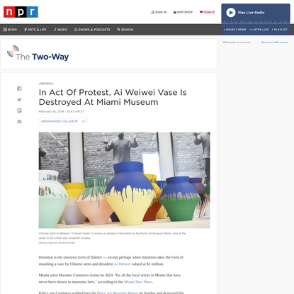 In Act Of Protest, Ai Weiwei Vase Is Destroyed At Miami Museum