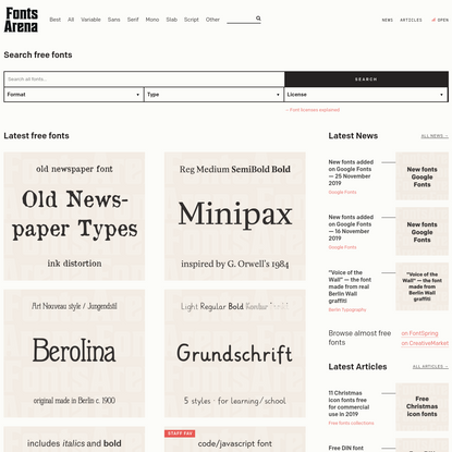 FontsArena - Free fonts, free alternatives, done-for-you-research articles. Ads-free open startup.
