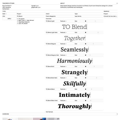 Tancrède Ottiger | TO Blend