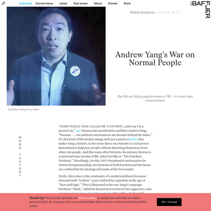 Andrew Yang's War on Normal People   Adam Simpson