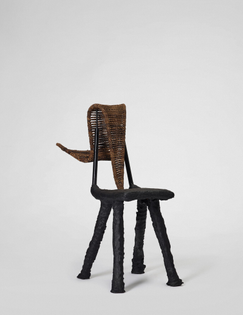 Dozie Kanu, Chair [xi] (New Weave), 2019, steel, concrete, woven hay