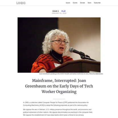 Mainframe, Interrupted: Joan Greenbaum on the Early Days of Tech Worker Organizing