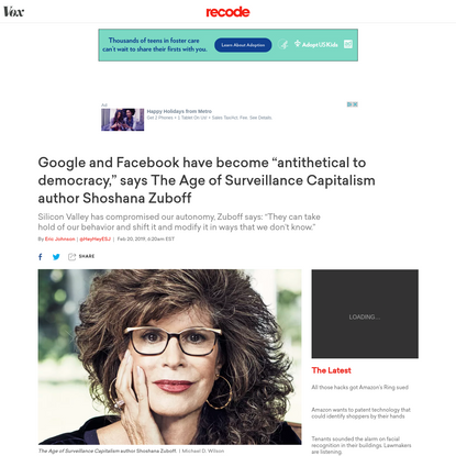 """Google and Facebook have become """"antithetical to democracy,"""" says The Age of Surveillance Capitalism author Shoshana Zuboff"""