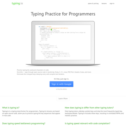 Typing Practice for Programmers   typing.io