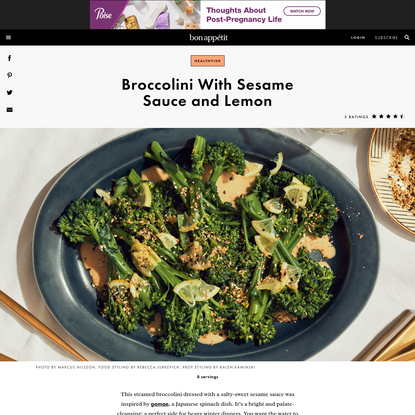 Broccolini With Sesame Sauce and Lemon Recipe