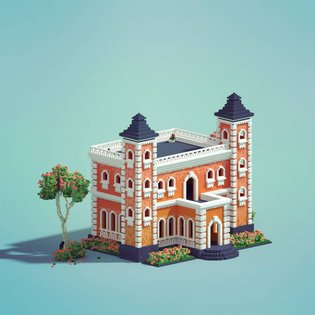 Victorian Building - Isometric design 😊 ____________ #3d #lowpoly #3dmodeling #lowpolyart #b3d #voxel #minecraftdesign #mine...
