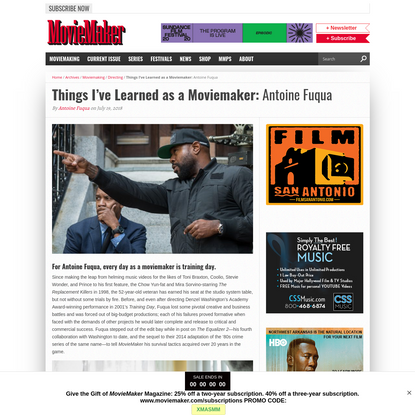 Things I've Learned as a Moviemaker: Antoine Fuqua - MovieMaker Magazine