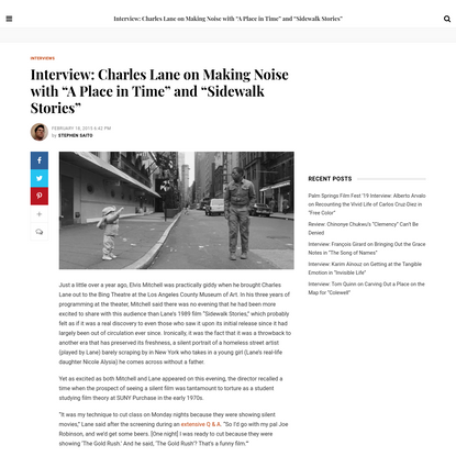 """Interview: Charles Lane on Making Noise with """"A Place in Time"""" and """"Sidewalk Stories"""""""