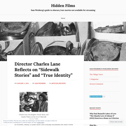 """Director Charles Lane Reflects on """"Sidewalk Stories"""" and """"True Identity"""""""