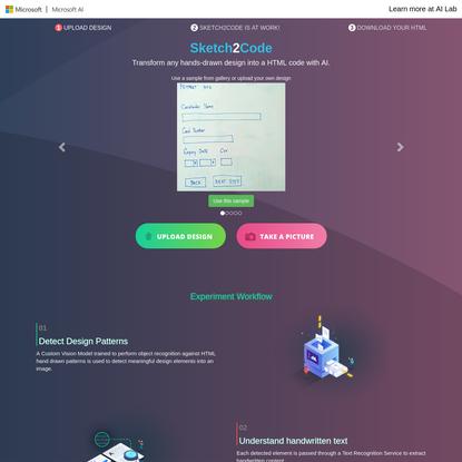 Sketch2Code - Transform sketches into HTML using AI