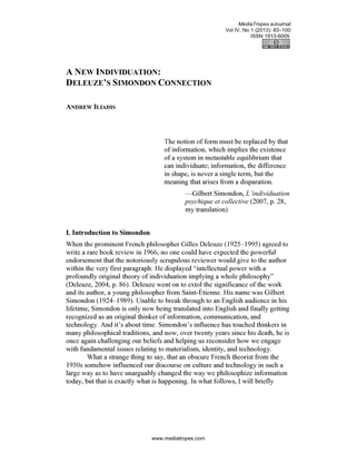 A New Individuation: Deleuze's Simondon Connection
