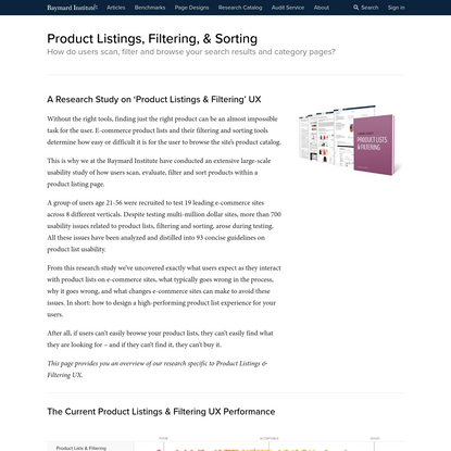 E-Commerce Product Lists & Filtering Usability: An Original Research Study - Product Lists & Filtering - Baymard Institute