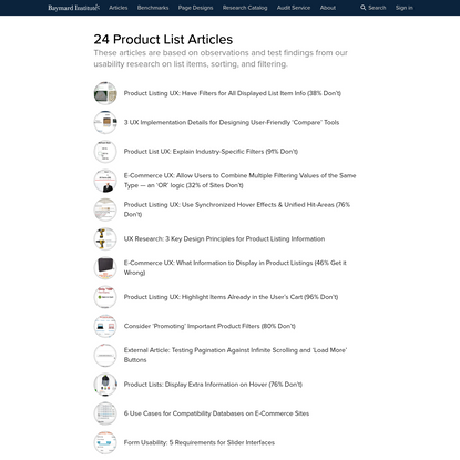 UX Articles - Product Lists & Filtering - Baymard Institute