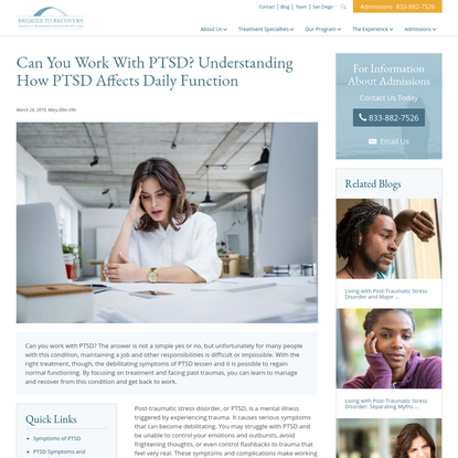Can You Work With PTSD? Understanding How PTSD Affects Daily Function
